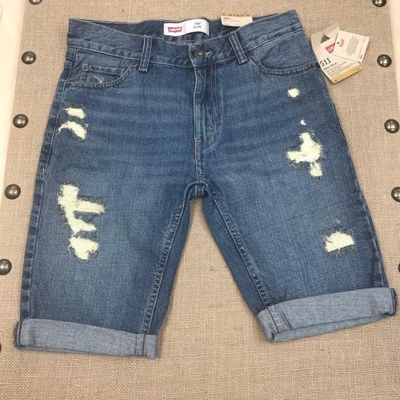 e927cf39e4 Levi's Bottoms   Levis Boys 511 Slim Fit Cuffed Slim Shorts   Poshmark